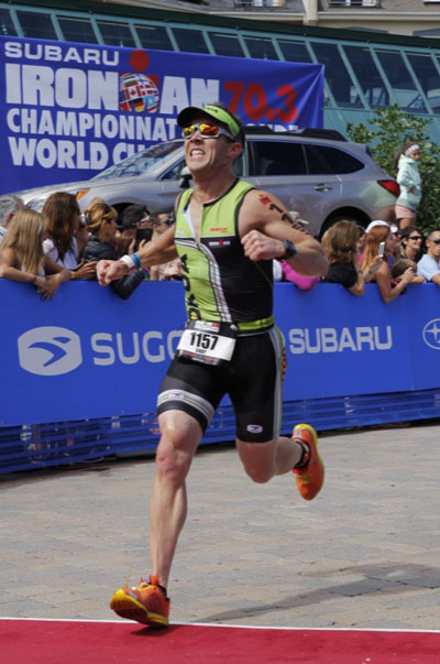 Shay running in the Iron Man World Championship