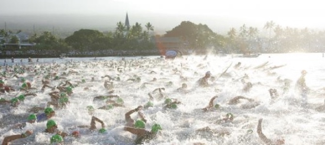Swimmers in the Ironman competition