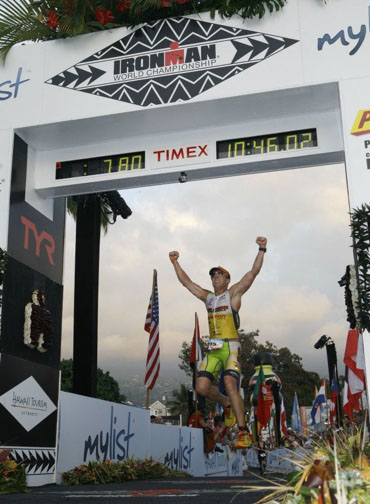 Shay at the Iron Man World Championship finish line